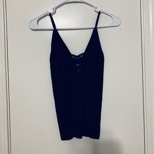 Black Ribbed Fitted Free People Tank